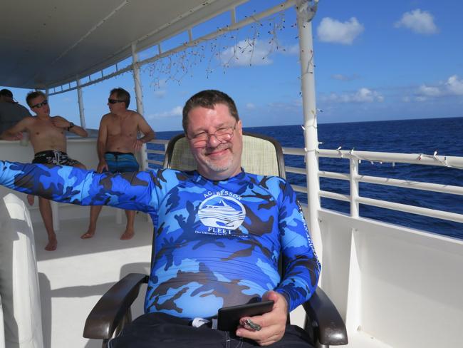 Cal Evans on the top deck of the Cayman Aggressor