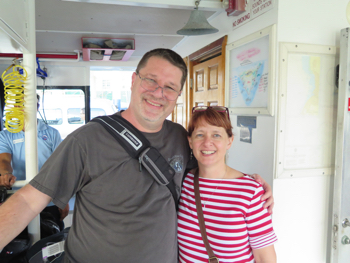 Cal and Kathy Evans as they board the Cayman Aggressor